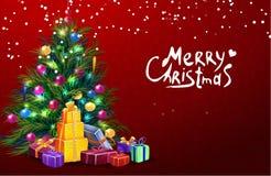 Διανυσματική απεικόνιση Χριστουγέννων με το τυπογραφικό σχέδιο και λαμπρά στοιχεία διακοπών στο κόκκινο υπόβαθρο Στοκ Εικόνες