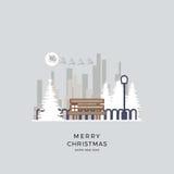 Διανυσματική απεικόνιση Χριστούγεννα της εικονικής παράστασης πόλης Πάρκο χειμερινού υποβάθρου στο ύφος κινούμενων σχεδίων Στοκ Εικόνες