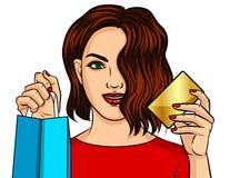 Διανυσματική απεικόνιση χρώματος ενός κοριτσιού που ψωνίζει on-line Ένα όμορφο κορίτσι κρατά μια συσκευασία από το κατάστημα σε έ ελεύθερη απεικόνιση δικαιώματος