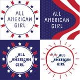 Διανυσματική απεικόνιση όλο το αμερικανικό κορίτσι Στοκ Φωτογραφίες