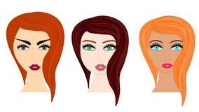 Διανυσματική απεικόνιση ύφους κινούμενων σχεδίων Ιστού των διαφορετικών hairstyles γυναικών διανυσματική απεικόνιση