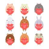 Διανυσματική απεικόνιση ύφους κινούμενων σχεδίων της ρομαντικής κάρτας δώρων ημέρας του βαλεντίνου με τα χαριτωμένα ζώα που κρατά στοκ φωτογραφία