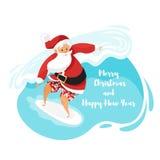 Διανυσματική απεικόνιση ύφους κινούμενων σχεδίων Santa surfer που οδηγά το κύμα Στοκ εικόνα με δικαίωμα ελεύθερης χρήσης