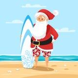 Διανυσματική απεικόνιση ύφους κινούμενων σχεδίων Santa surfer Στοκ φωτογραφία με δικαίωμα ελεύθερης χρήσης