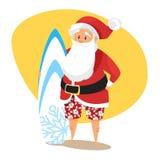 Διανυσματική απεικόνιση ύφους κινούμενων σχεδίων Santa surfer Στοκ Εικόνα