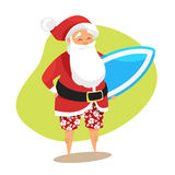 Διανυσματική απεικόνιση ύφους κινούμενων σχεδίων Santa surfer Στοκ φωτογραφίες με δικαίωμα ελεύθερης χρήσης