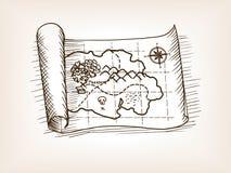 Διανυσματική απεικόνιση ύφους σκίτσων χαρτών θησαυρών διανυσματική απεικόνιση