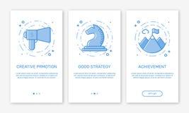 Διανυσματική απεικόνιση app η εφαρμογή ίδρυσης επιχείρησης έννοιας οθονών για τα κινητά apps στο ύφος γραμμών Στοκ Εικόνες