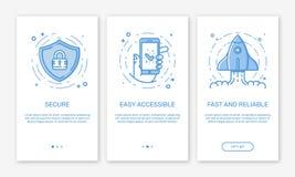 Διανυσματική απεικόνιση app οι οθόνες και η ομάδα σχεδίου έννοιας Ιστού για τα κινητά apps στο επίπεδο ύφος γραμμών Στοκ εικόνα με δικαίωμα ελεύθερης χρήσης