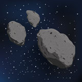 Διανυσματική απεικόνιση asteroid και ενός μετεωρίτη Στοκ Φωτογραφίες