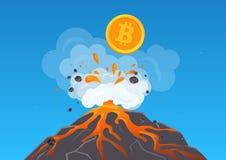 Διανυσματική απεικόνιση cryptocurrency bitcoin από το ηφαίστειο με τη λάβα Bitcoun που αυξάνεται γρήγορα ελεύθερη απεικόνιση δικαιώματος