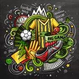 Διανυσματική απεικόνιση doodle κινούμενων σχεδίων ποδοσφαίρου Σχέδιο πινάκων κιμωλίας Στοκ εικόνα με δικαίωμα ελεύθερης χρήσης