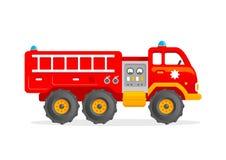 Διανυσματική απεικόνιση Firetruck παιχνιδιών κινούμενων σχεδίων Κόκκινο αυτοκίνητο πυροσβεστών διανυσματική απεικόνιση