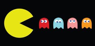 Διανυσματική απεικόνιση pac-ατόμων, αναδρομικοί χαρακτήρες παιχνιδιών Στοκ Εικόνες
