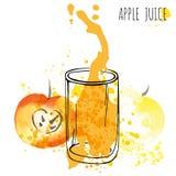 Διανυσματική απεικόνιση watercolor παφλασμών χυμού της Apple Apple με τον παφλασμό και το γυαλί που απομονώνονται στο άσπρο υπόβα Στοκ Φωτογραφία