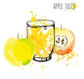 Διανυσματική απεικόνιση watercolor παφλασμών χυμού της Apple Apple με τον παφλασμό και το γυαλί που απομονώνονται στο άσπρο υπόβα Στοκ φωτογραφία με δικαίωμα ελεύθερης χρήσης