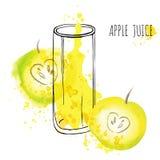 Διανυσματική απεικόνιση watercolor παφλασμών χυμού της Apple Apple με τον παφλασμό και το γυαλί που απομονώνονται στο άσπρο υπόβα Στοκ εικόνες με δικαίωμα ελεύθερης χρήσης
