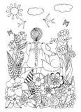 Διανυσματική απεικόνιση zentagl, συνεδρίαση κοριτσάκι σε έναν πάγκο με μια αλεπού που περιβάλλεται από τα λουλούδια Σχέδιο Doodle Στοκ Φωτογραφία