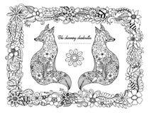 Διανυσματική απεικόνιση zentagl, chanterelles στο πλαίσιο από τα λουλούδια Σχέδιο Doodle Στοχαστικές ασκήσεις Χρωματίζοντας αντι  Στοκ φωτογραφία με δικαίωμα ελεύθερης χρήσης