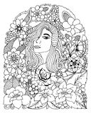 Διανυσματική απεικόνιση zentangl, πορτρέτο ενός κοριτσιού μεταξύ των λουλουδιών Αντι πίεση βιβλίων χρωματισμού για τους ενηλίκους Στοκ Εικόνα