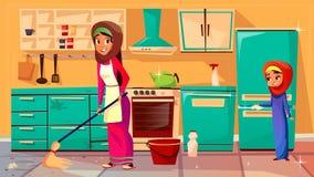 Διανυσματική αραβική κόρη μητέρων που καθαρίζει από κοινού ελεύθερη απεικόνιση δικαιώματος