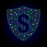 Διανυσματική ασπίδα δολαρίων πλέγματος δικτύων με τα καμμένος σημεία για το νέο έτος ελεύθερη απεικόνιση δικαιώματος