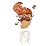 Διανυσματική αστεία πατάτα hipster κινούμενων σχεδίων χαριτωμένη καφετιά Στοκ Εικόνα