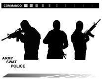Διανυσματική αστυνομία ομάδας ειδικών δυνάμεων SWAT απεικόνισης Στοκ φωτογραφία με δικαίωμα ελεύθερης χρήσης