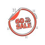 Διανυσματική αυτοκόλλητη ετικέττα πώλησης κινούμενων σχεδίων 60% τοις εκατό από το εικονίδιο στο κωμικό ύφος διανυσματική απεικόνιση