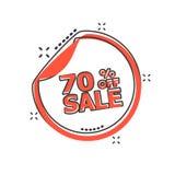 Διανυσματική αυτοκόλλητη ετικέττα πώλησης κινούμενων σχεδίων 70% τοις εκατό από το εικονίδιο στο κωμικό ύφος ελεύθερη απεικόνιση δικαιώματος