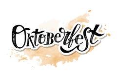 Διανυσματική αυτοκόλλητη ετικέττα Watercolor διακοπών κειμένων βουρτσών καλλιγραφίας Oktoberfest γράφοντας Στοκ Φωτογραφία