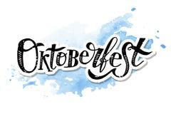 Διανυσματική αυτοκόλλητη ετικέττα Watercolor διακοπών κειμένων βουρτσών καλλιγραφίας Oktoberfest γράφοντας Στοκ εικόνα με δικαίωμα ελεύθερης χρήσης