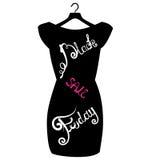 Διανυσματική αφίσα εικονιδίων λίγο μαύρο φόρεμα - μαύρη Παρασκευή Μαύρη εγγραφή Παρασκευής στο μοντέρνο μαύρο φόρεμα Στοκ Εικόνα