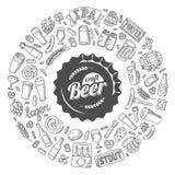 Διανυσματική αφίσα μπύρας τεχνών doodle Στοκ Φωτογραφία