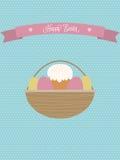 Διανυσματική αφίσα Πάσχας Καλάθι Πάσχας με τα αυγά και το κέικ Πάσχας απεικόνιση αποθεμάτων