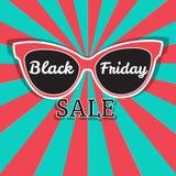 Διανυσματική αφίσα πώλησης που διαφημίζει τη μαύρη Παρασκευή Μαύρη πώληση Παρασκευής γυαλιών ηλίου Στοκ Φωτογραφία