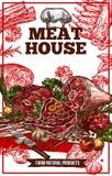 Διανυσματική αφίσα σπιτιών κρέατος σκίτσων ελεύθερη απεικόνιση δικαιώματος