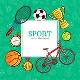Διανυσματική αφίσα σχεδίων εικονιδίων αθλητικών συμβόλων σκίτσων Στοκ Εικόνες