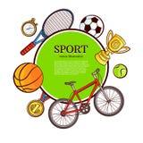 Διανυσματική αφίσα σχεδίων εικονιδίων αθλητικών συμβόλων σκίτσων Στοκ φωτογραφία με δικαίωμα ελεύθερης χρήσης