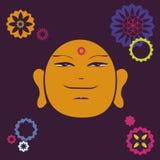Τυπωμένη ύλη προσώπου Buddah με πολλές floral λεπτομέρειες απεικόνιση αποθεμάτων