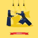 Διανυσματική αφίσα των πολεμικών τεχνών Kendo Μαχητές στις αθλητικές θέσεις διανυσματική απεικόνιση