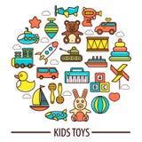 Διανυσματική αφίσα playthings παιχνιδιών ή παιδιών παιδιών Στοκ εικόνα με δικαίωμα ελεύθερης χρήσης