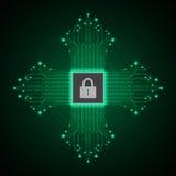 Διανυσματική αφηρημένη έννοια ασφάλειας τεχνολογίας υποβάθρου Στοκ Εικόνα
