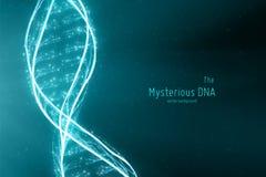 Διανυσματική αφηρημένη απεικόνιση ελίκων DNA διπλή Μυστήρια πηγή υποβάθρου ζωής Φουτουριστική εικόνα Genom εννοιολογικός διανυσματική απεικόνιση