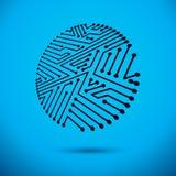 Διανυσματική αφηρημένη απεικόνιση πινάκων κυκλωμάτων υπολογιστών, κυκλικό te Στοκ Φωτογραφίες