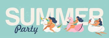 Διανυσματική αφηρημένη κάρτα θερινής απεικόνισης με την καρφίτσα επάνω στην κολύμβηση κοριτσιών στο ζωικό κύκλο επιπλεόντων σωμάτ απεικόνιση αποθεμάτων