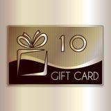Διανυσματική αφηρημένη κάρτα δώρων για δέκα στο χρυσό και Στοκ Εικόνες