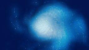 Διανυσματική αφηρημένη μεγάλη απεικόνιση στοιχείων Μπλε ροή στοιχείων πυράκτωσης ως δυαδικούς αριθμούς Αντιπροσώπευση κώδικα υπολ διανυσματική απεικόνιση