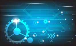 Διανυσματική αφηρημένη μελλοντική τεχνολογία εφαρμοσμένης μηχανικής στο μπλε υπόβαθρο Στοκ Φωτογραφία