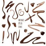 Διανυσματική αφηρημένη συλλογή της σοκολάτας ή των γραμμών και των κυμάτων καφέ, που απομονώνεται στο άσπρο υπόβαθρο Στοκ Εικόνα